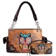 Tan Owl Embroidery Western Concealed Handbag Set - 939153