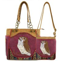 Burgundy Western Concealed Tote Bag/Messenger Bag - PTF17587 Set