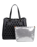BLACK 2IN1 CHIC RING HOLLOW STUDDED SATCHEL WITH LONG STRAP