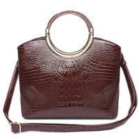 Brown Shinny Crocodile Structure Top Handle Handbag - CCR 5624