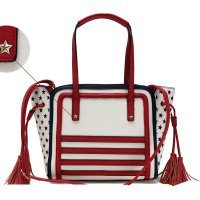 Red US Flag & Floral Combined Print Tote Handbag - DH 161
