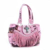 Pink 'Mossy Pine' Fringed Western Handbag - MT1-MJ6802 MP