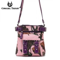 Purple Cowgirl Trendy Pink Camo Messenger Bag - PML5 4690