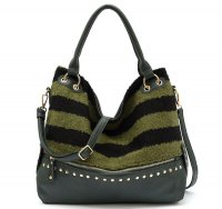 Olive Stripe Synthetic Fur Hobo Handbag - FST 5304