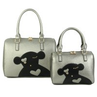 SILVER 2IN1 CUTE FASHION BEAR PATCH BOSTON BAG SET WITH LONG STR