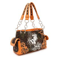 Orange 'Horse & Nature' Western Camo Handbag - FML29 8469