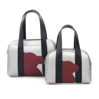 SILVER 2IN1 CUTE BEAR PATCH BOSTON BAG SET WITH LONG STRAP