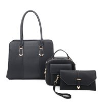BLACK 3IN1 CHIC TWO TONE TOTE SET WITH LONG STRAP