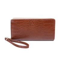 BROWN MODERN GLOSSY CROCO TEXTURED LONG WALLET WITH HAND STRAP