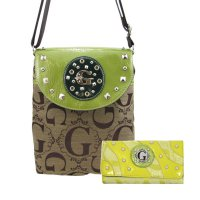Green G-Style Messenger Bag with Wallet - K1201-KW194