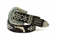 Gold Single Gun Rhinestone Studded Belt - PTG106 SG SIZE-L