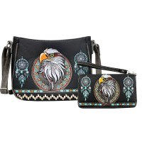 Black Concealed Eagle Embroidery Messenger Bag Set - G603221