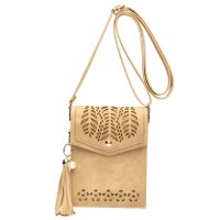 Tan Cell Phone Laser Cut Modern Crossbody Purse - FCUS 5754
