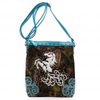 Turquoise 'Horse & Nature' Western Messenger Bag - FML29 4699