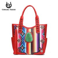 Red Cowgirl Trendy Multi Stripe Concealed Handbag - SER7 5376
