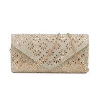 APRICOT MULTI RHINESTONE EVENING PARTY CLUTCH WITH CHAIN