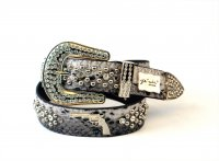 8-Pack Gray SG Rhinestone Studded Belt - PTG104 BOX
