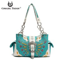 Turquoise Butterfly Patch Embroidery Buckle Handbag - BFU5 8469B