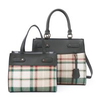 GREEN 2 IN 1 TRENDY CHECK SATCHEL SET WITH LONG STRAP WITH WALLE