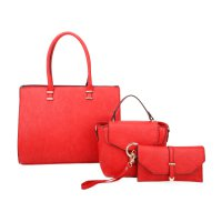 RED 3IN1 FASHION TOTE CROSSBODY AND CLUTCH SET
