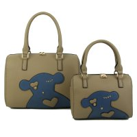 STONE 2IN1 CUTE FASHION BEAR PATCH BOSTON BAG SET WITH LONG STRA