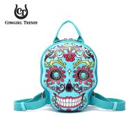 Turquoise 3D Hardshell Box Sugar Skull Backpack - SKSB 5618