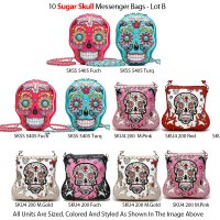 10 Sugar Skull Messenger Bags 'Calavera' Collection - Lot D