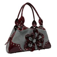Burgundy Hountooth With Flower Handbag - HTF2 8089
