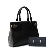 Black Elegant Top Handle Fashion Handbag Set - HNA 2039-661