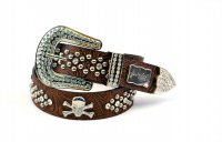 8-Pack Coffee SK Rhinestone Studded Belt Close Out - PTG105 BOX