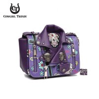 Purple 'Skull & Cross' Biker Jacket Handbag - SKUM 5395