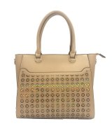 APRICOT FASHION HOLOGRAM FRONT TOTE WITH LONG STRAP