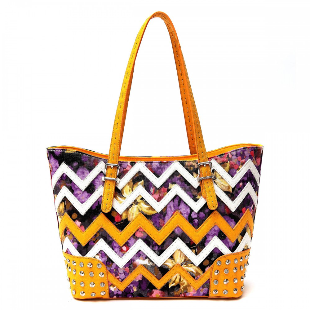 Sun-Flowe Zigzag Tote Handbag - SQM8 4975B - Click Image to Close