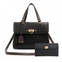 Black Designer inspired Flap Handbag Set - HNA 2049-663