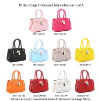 10 Handbags Embossed Jelly Collection - Lot A