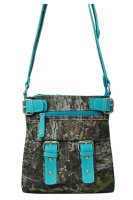 Turquoise Leaves & Trees with Buckle Messenger Bag - FML4 4690