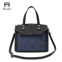 Black Two Tones Double Handles Tote Handbag - HNA 2040