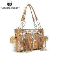 Natural Fringes And Stones' Chain Handbag With Wallet - DDQ 8469