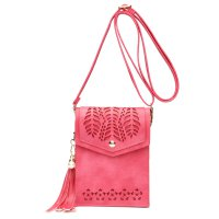 Fuchsia Cell Phone Laser Cut Modern Crossbody Purse - FCUS 5754
