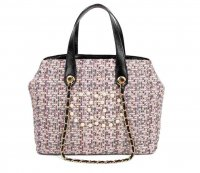 PINK CHIC ROUGH FABRIC WOVEN SATCHEL WITH LINKED CHAIN