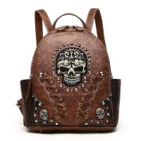 Brown Western Style Sugar Skull Backpack - SKW3 5381