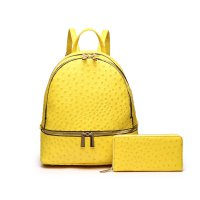 Mustard 2 In 1 Ostrich Accented Backpack & Wallet Set - YBO 5701