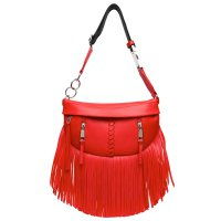 Red Solid Fringe Front Zippered Fanny Pack - BH 567