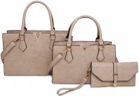 APRICOT 3IN1 MODERN V ACCENTED DESIGN TOTE BAG WITH MATCHING BA