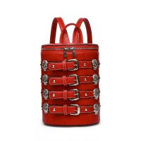 Cherry 'Biker Skull' Belted Barrel Backpack - SKUU 5703