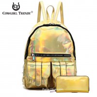 Gold Holographic Dual Pocket Backpack With Wallet - HAR2 5685