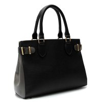 Black Two Tone Striped Top Handle Tote Handbag - HNA 2039