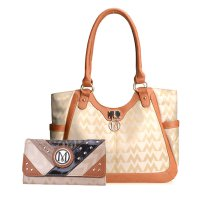 Tan Signature Style Wholesale Tote Handbag Set - K1512-KW274