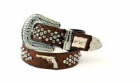 8-Pack Coffee SG Rhinestone Studded Western Belt - PTG105 BOX