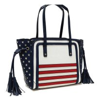 Blue US Flag & Floral Combined Print Tote Handbag - DH 161